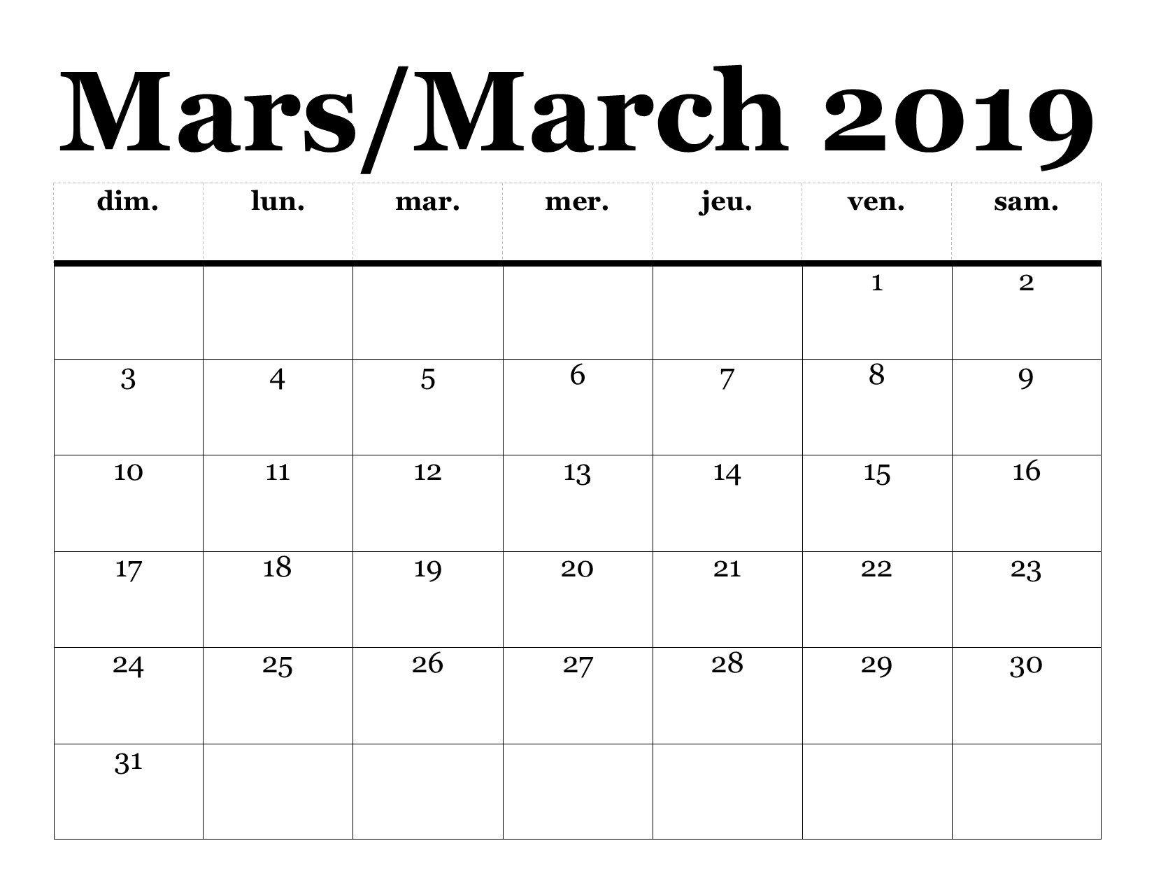 Calendrier Mars 2019